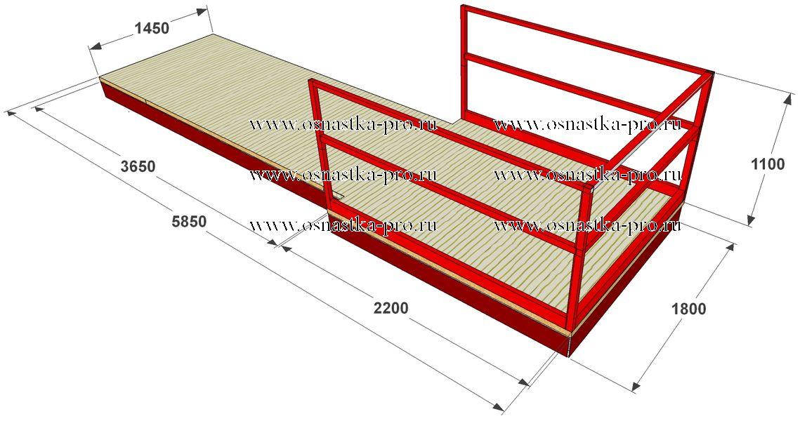 Выносная площадка 2т - для проемов 1,45м - МН-7